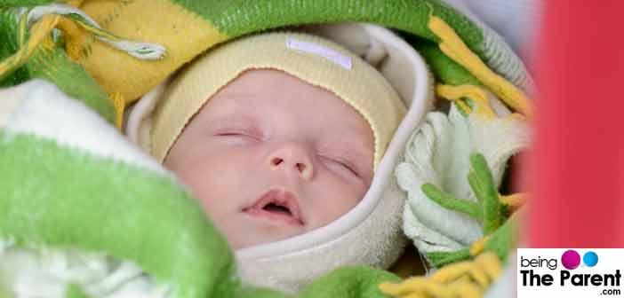 Baby sleeping in winters