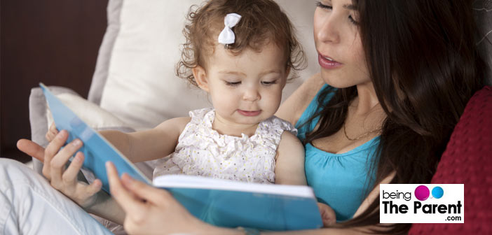 Mother reading to kid