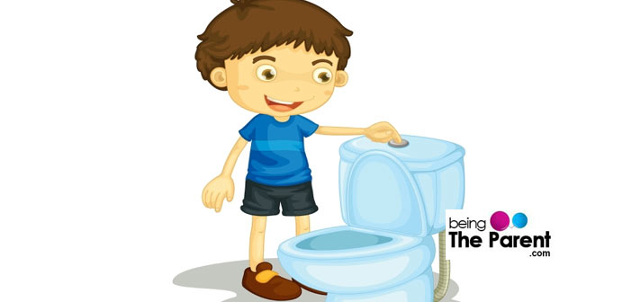 Teaching the boy to stand and pee