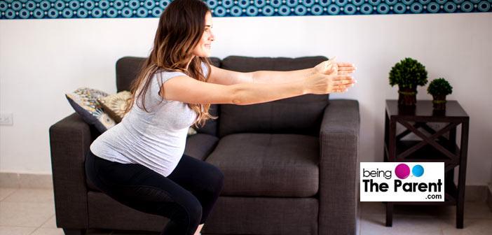 Pregnant woman squats