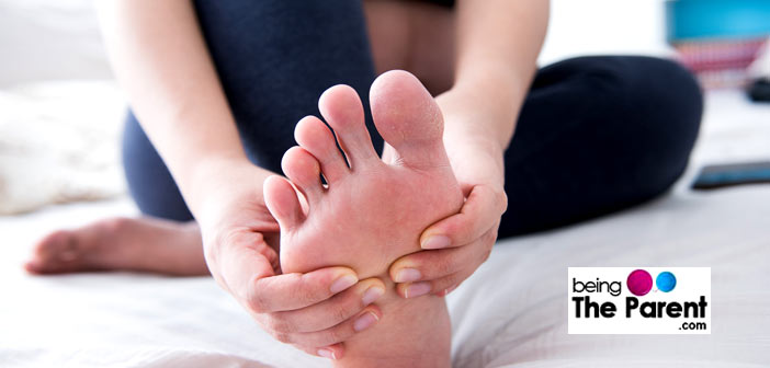 Pregnant woman foot massage
