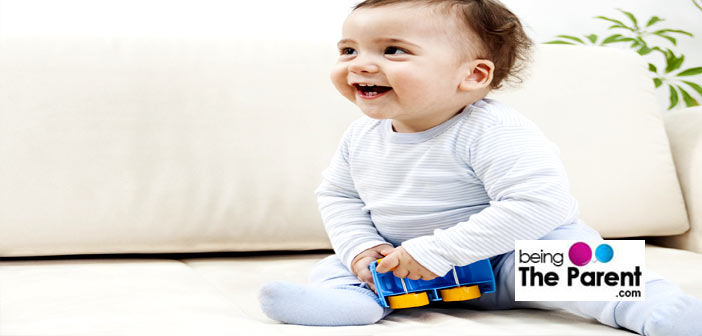 2 year old baby playing