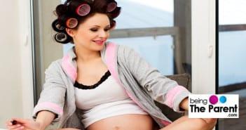 Pregnant woman in salon