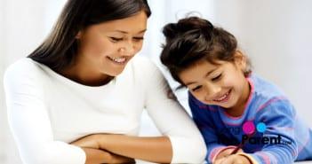 Mom teaching math to child