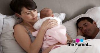 Wife comforts baby