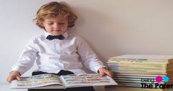 child reading comic