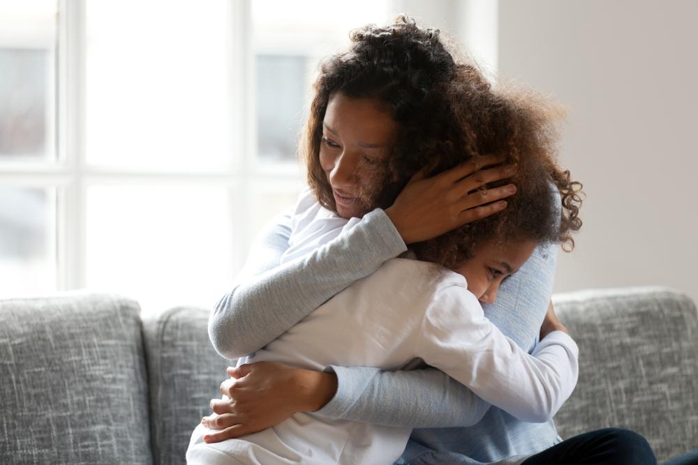 mother empathizing kid